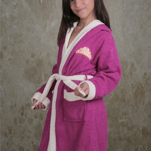 Халат детский Karna SILVER хлопковая махра фуксия 6-7 лет