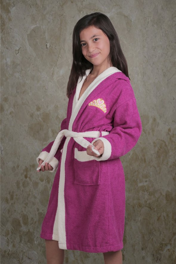 Халат детский Karna SILVER хлопковая махра (фуксия) 6-7 лет, фото, фотография