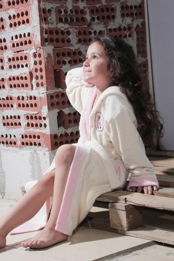 Халат детский Karna SILVER хлопковая махра (кремовый) 10-11 лет, фото, фотография