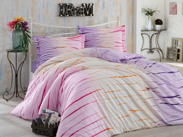 Комплект постельного белья Hobby Home Collection BATIK KIRIK хлопковый сатин (лиловый) 1,5 спальный, фото, фотография