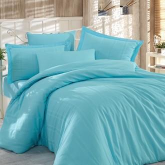 Комплект постельного белья Hobby Home Collection STRIPE хлопковый сатин-жаккард (голубой)