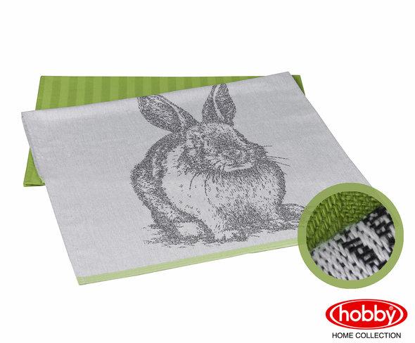 Набор кухонных полотенец Hobby Home Collection PRINT хлопок (rabbit, зелёный) 50*70(2), фото, фотография