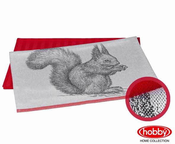Набор кухонных полотенец Hobby Home Collection PRINT хлопок (squirrel, коралловый) 50*70(2), фото, фотография