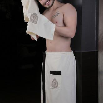 Набор для сауны мужской Karna KORAL хлопковая махра кремовый