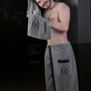 Набор для сауны мужской Karna KORAL хлопковая махра тёмно-серый