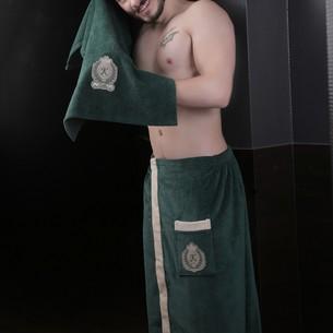 Набор для сауны мужской Karna KORAL хлопковая махра тёмно-зелёный