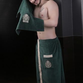 Набор для сауны мужской Karna KORAL хлопковая махра (тёмно-зелёный)