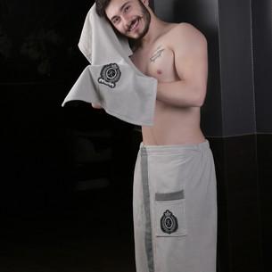 Набор для сауны мужской Karna KORAL хлопковая махра светло-серый