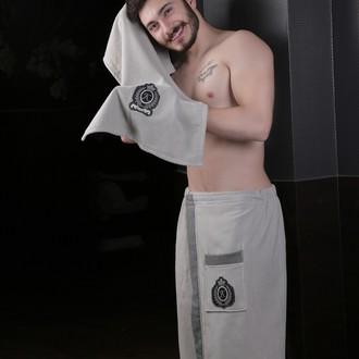 Набор для сауны мужской Karna KORAL хлопковая махра (светло-серый)