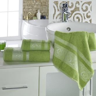 Полотенце для ванной Karna ELZA хлопковая махра (зелёный)