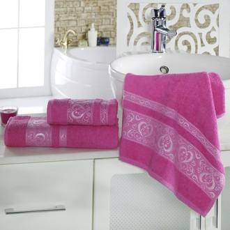 Полотенце для ванной Karna ELZA хлопковая махра (малиновый)