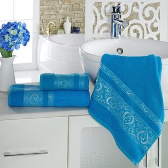 Полотенце для ванной Karna ELZA хлопковая махра (бирюзовый)