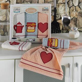 Подарочный набор кухонных полотенец Karna TEA LOVE хлопковая махра