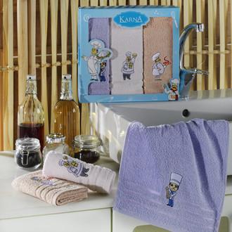 Подарочный набор кухонных полотенец Karna SAVON хлопковая махра