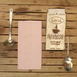 Набор кухонных полотенец Karna MEDLEY хлопковая вафля (розовый)