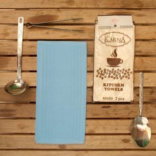 Набор кухонных полотенец Karna MEDLEY хлопковая вафля голубой
