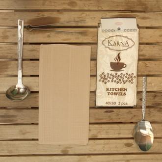 Набор кухонных полотенец Karna MEDLEY хлопковая вафля (бежевый)