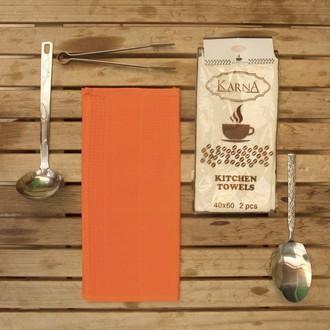 Набор кухонных полотенец Karna MEDLEY хлопковая вафля (оранжевый)