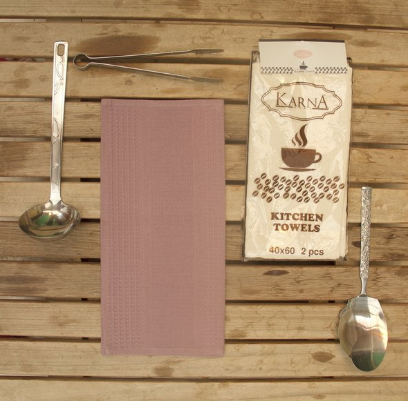 Набор кухонных полотенец Karna MEDLEY хлопковая вафля (грязно-розовый), фото, фотография