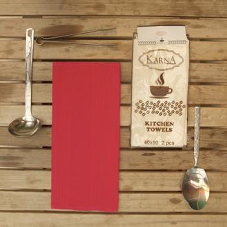 Набор кухонных полотенец Karna MEDLEY хлопковая вафля (красный)