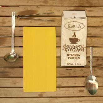 Набор кухонных полотенец Karna MEDLEY хлопковая вафля (жёлтый)