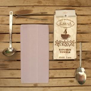 Набор кухонных полотенец Karna MEDLEY хлопковая вафля сиреневый