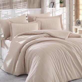 Комплект постельного белья Hobby Home Collection STRIPE хлопковый сатин-жаккард (бежевый)