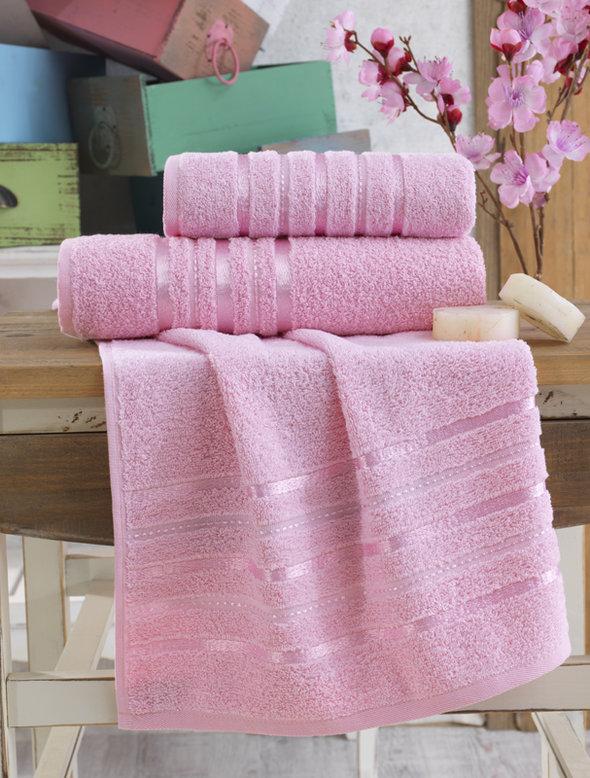 Полотенце для ванной Karna JASMIN хлопковая махра (розовый) 50*100, фото, фотография