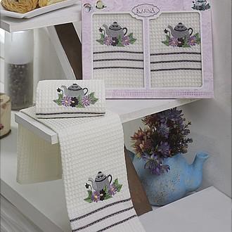 Набор кухонных полотенец Karna VOTRE хлопковая вафля (V3)