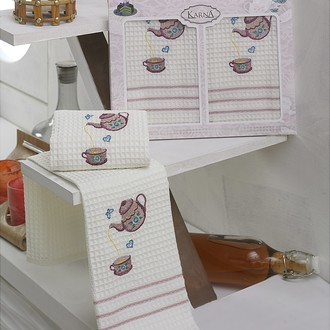 Набор кухонных полотенец Karna VOTRE хлопковая вафля (V8)