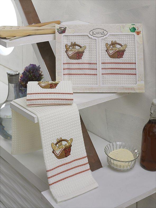 Набор кухонных полотенец Karna VOTRE хлопковая вафля (V9) 40*60(2), фото, фотография