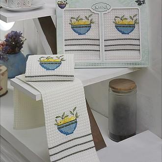 Набор кухонных полотенец Karna VOTRE хлопковая вафля (V5)
