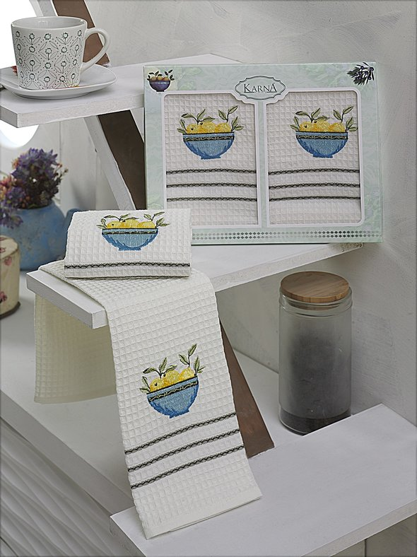 Набор кухонных полотенец Karna VOTRE хлопковая вафля (V5) 40*60(2), фото, фотография