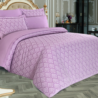 Комплект постельного белья Karna MARIDA бамбуковый сатин-жаккард (пудра)