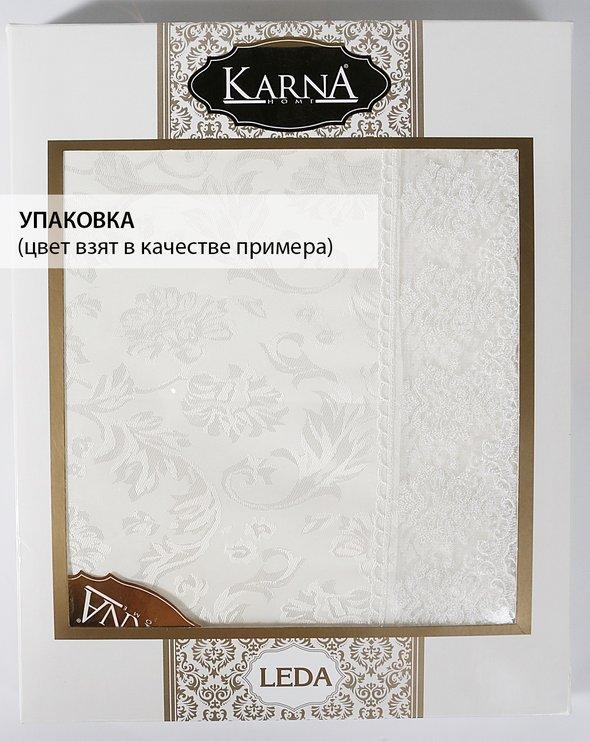 Скатерть круглая Karna LEDA жаккард бордовый D=160, фото, фотография