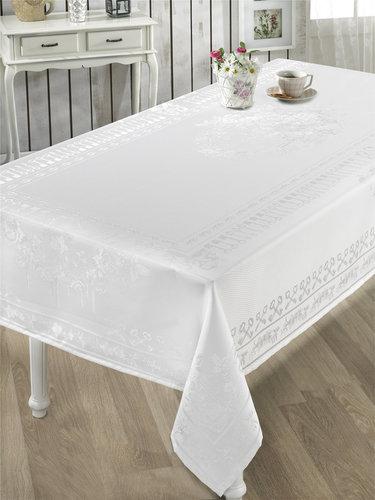 Скатерть прямоугольная Karna ZUMRUT жаккард белый 160х300, фото, фотография