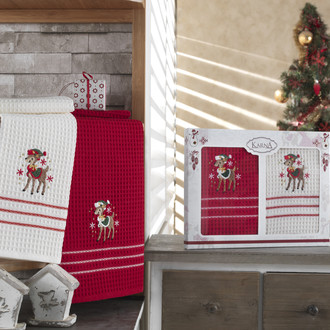 Набор кухонных полотенец Karna CHRISTMAS хлопковая вафля (V2)