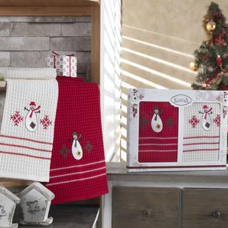 Набор кухонных полотенец Karna CHRISTMAS хлопковая вафля (V4)