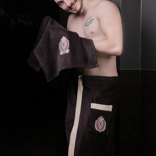 Набор для сауны мужской Karna KORAL хлопковая махра коричневый