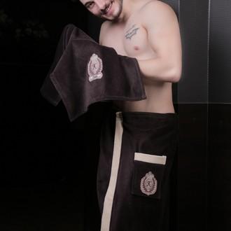 Набор для сауны мужской Karna KORAL хлопковая махра (коричневый)