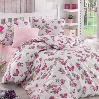 Комплект постельного белья Altinbasak BUTTERFLE ранфорс хлопок (фуксия)