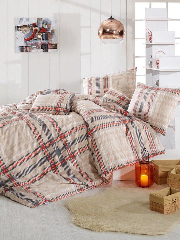 Комплект постельного белья Altinbasak ALIZ хлопковый ранфорс (коричневый) 1,5 спальный, фото, фотография