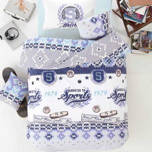 Постельное белье Altinbasak ATHLETIC хлопковый ранфорс голубой 1,5 спальный