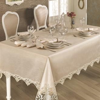 Скатерть прямоугольная с салфетками и кольцами Finezza HANEDAN (кремовый)
