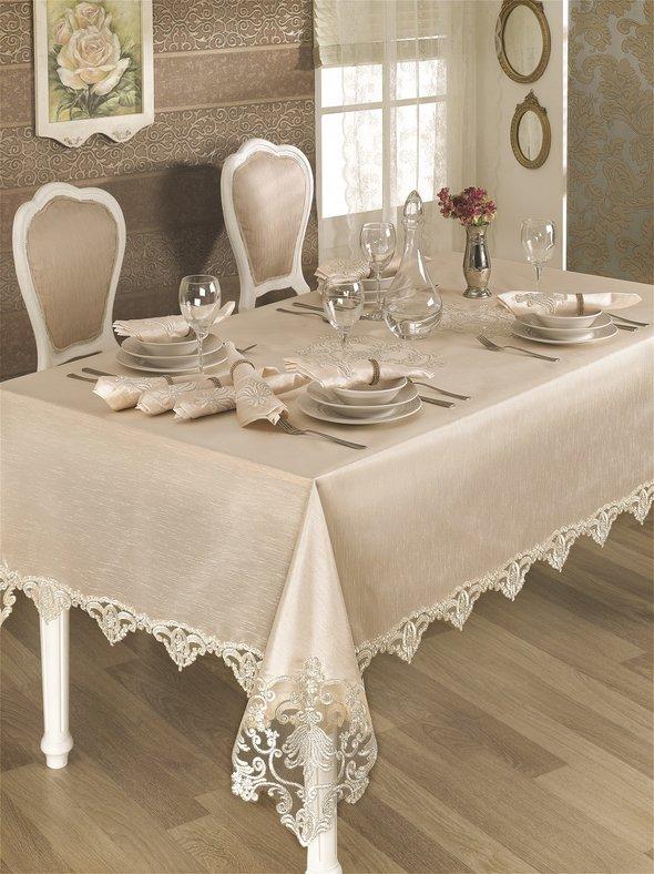 Скатерть прямоугольная с салфетками и кольцами Finezza HANEDAN (кремовый) 160*230, фото, фотография
