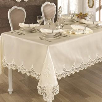 Скатерть прямоугольная с салфетками и кольцами Finezza CLARA (кремовый)