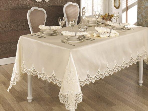 Скатерть прямоугольная с салфетками и кольцами Finezza CLARA (кремовый) 170*230, фото, фотография