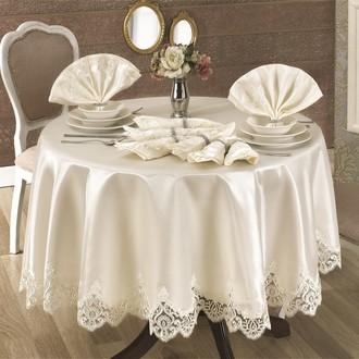 Скатерть круглая с салфетками и кольцами Finezza CLARA (кремовый)