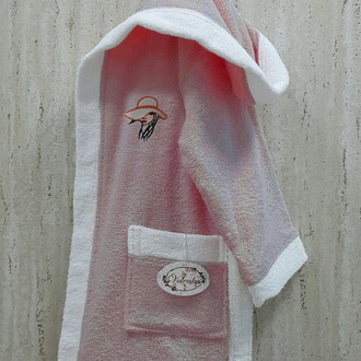 Халат детский Volenka ДЕВОЧКА В ШЛЯПЕ хлопковая махра (тёмно-розовый+белый)