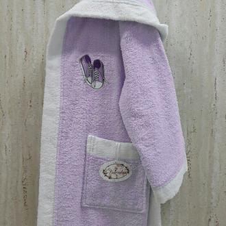 Халат детский Volenka КЕДЫ хлопковая махра (светло-сиреневый+белый)